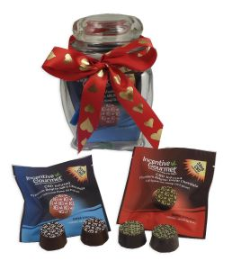 Personal Glass Gift Jar with Chocolates - 4 Packs, CBD infused Chocolates